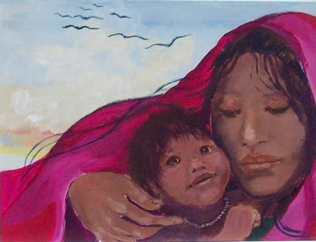 Native American desert baby painting by Rena Paradis